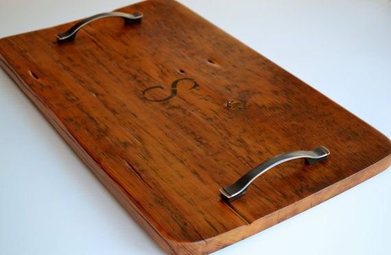 Gorgeous serving tray crafted of old salvaged American barn wood by a master craftsman. Each tray is slightly unique because each wears the