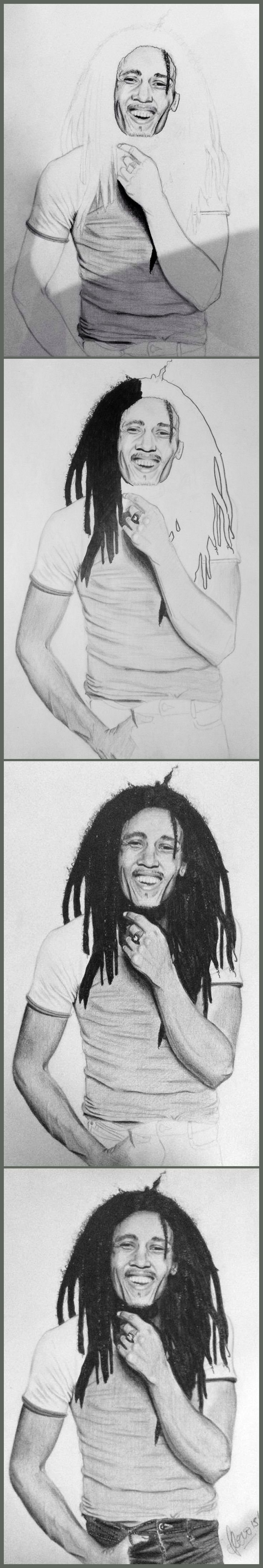 Proceso Bob Marley #art #grafito #Marley #floroperlini #dibujo #arte #music #floro #perlini #illustration #sketch #blackandwhite #blancoynegro #reggae #process #stepbystep