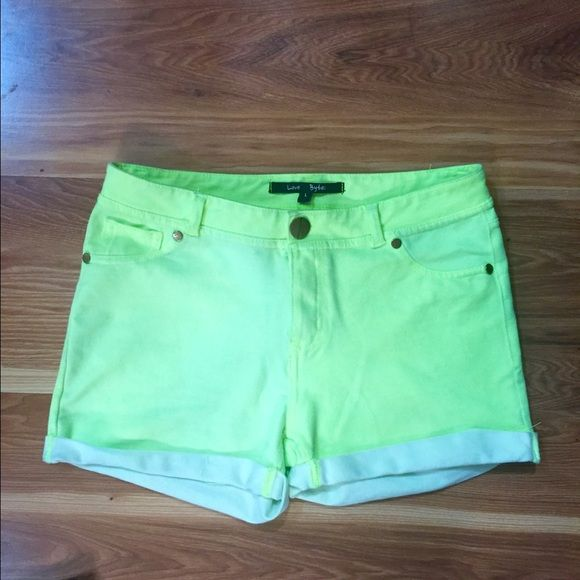 NWOT Neon Green Shorts NWOT neon green shorts. These are adorable and super comfy! They fit more like a medium in my opinion and they stretch. Shorts