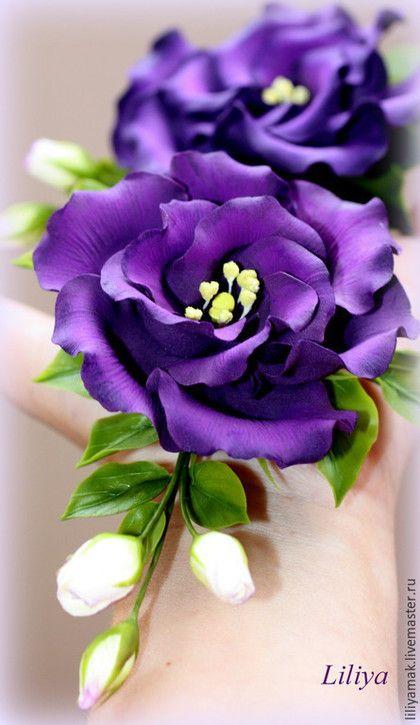 Купить или заказать Эустома с бутонами пурпурная (зажим для волос) в интернет-магазине на Ярмарке Мастеров. В НАЛИЧИИ зажим-брошь. В заказе уточните основу крепления. Заколка с эустомой ( лизиантус) и бутонами невероятно притягательного и благородного цвета, насыщенный пурпурный, темно-фиолетовый, маджента, очень сложный цвет. Притягивает взор как магнит. Очень эффектное украшение. Полностью ручная работа. В данном варианте цветок закреплен на зажим.