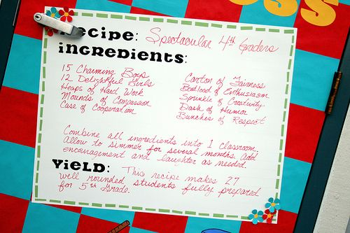 Bulletin board Recipe for class