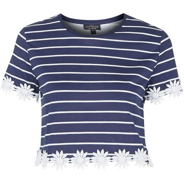 TOPSHOP PETITE Stripe Daisy Trim Tee ($45) ❤ liked on Polyvore featuring tops, t-shirts, shirts, crop tops, tees, navy blue, petite, petite t shirts, navy striped shirt and lightweight t shirts