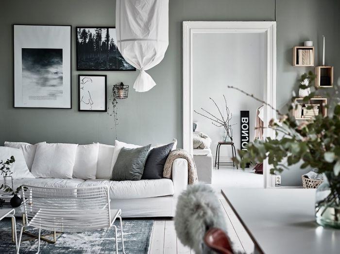 1001 Idees Comment Integrer La Peinture Vert De Gris Dans Son Interieur Peinture Vert De Gris Couleur Mur Salon Vert De Gris