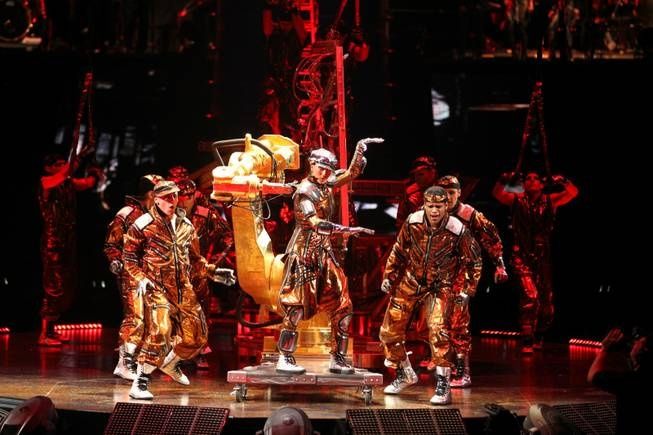 I love the reds, browns, and golds shown in this image of Cirque De Solei's Micheal Jackson: The Immortal World Tour. It brings to life, in my opinion, the life and times of Micheal Jacksons songs and his career.