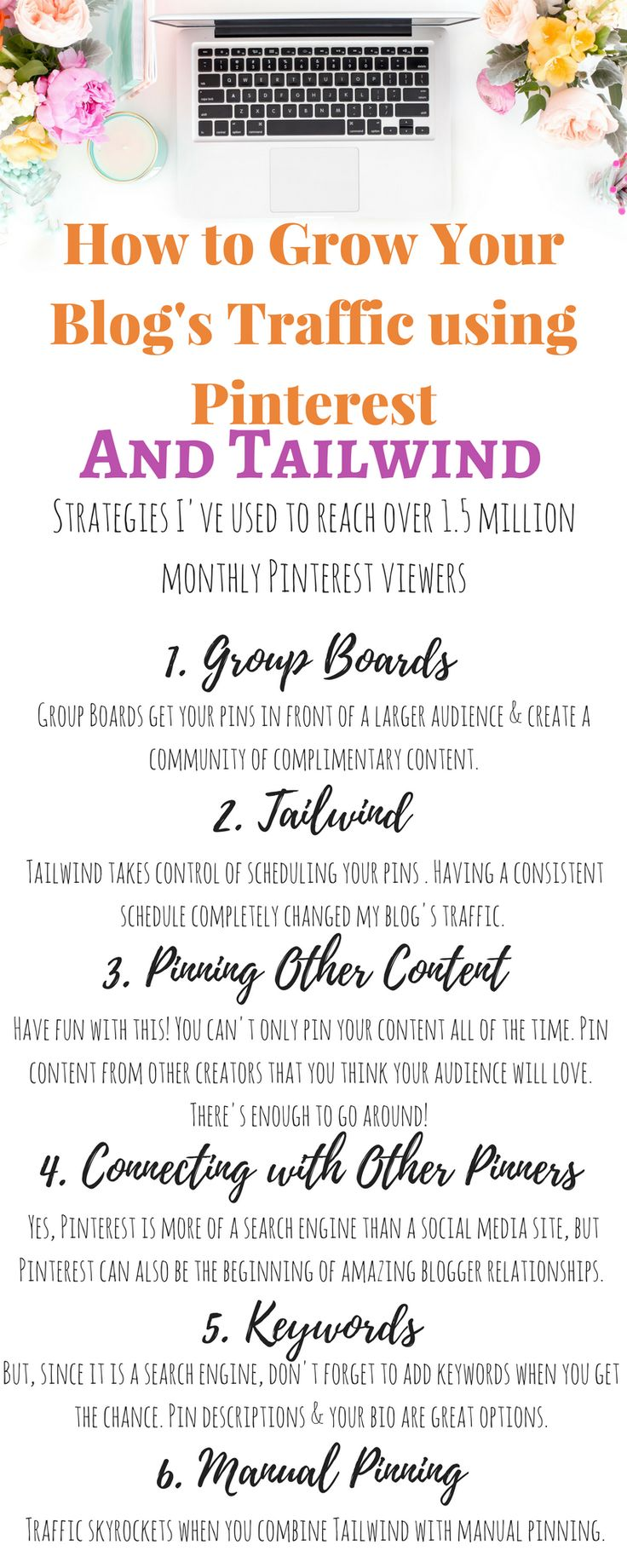 Ready to grow your blog's traffic like crazy? Here are the top 6 tips for using Pinterest to explode your blog's traffic. Pinterest is my favorite way to grow a new blog's traffic. I hope these tips help you find your tribe, get more views, and create viral pins. Click the pin for more details!