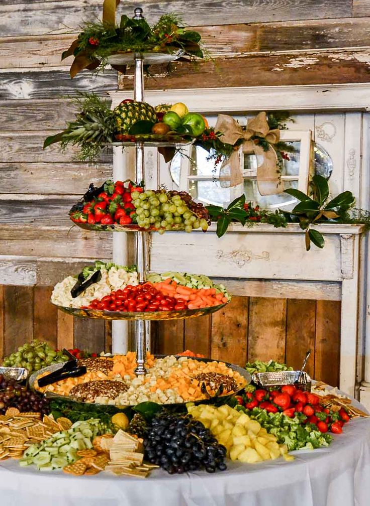 Wedding reception barn, wedding décor, Christmas wedding, wedding reception, fruit buffet. Rustic barn wedding and reception venue in Alabama whiteacresfarms.com
