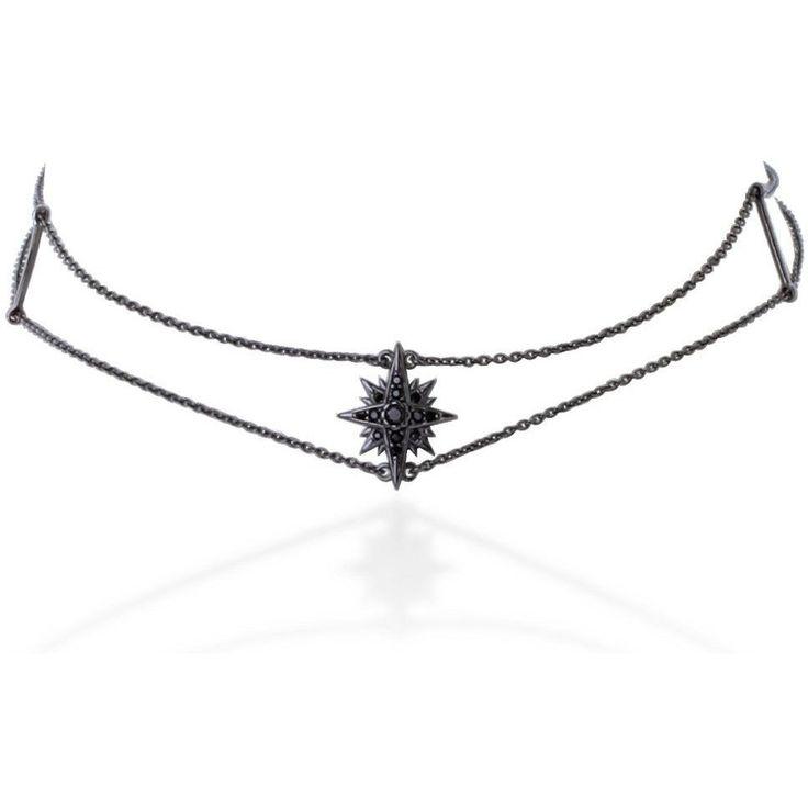 Starburst black gold vermeil chain choker with black stones