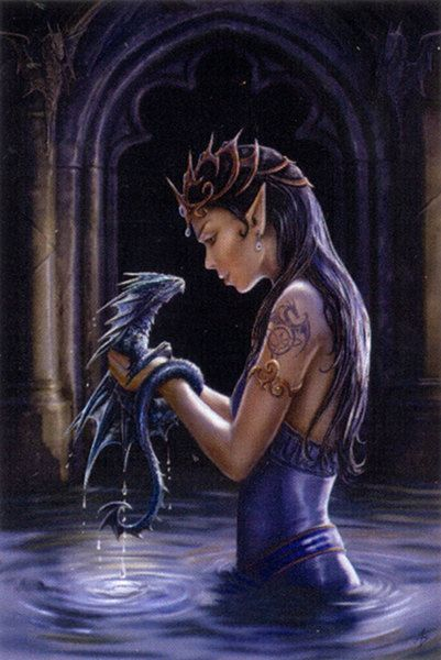 Water Dragon Cross Stitch Pattern - An otherworldly beauty shares a playful moment with her aquatic friend. Based on artwork by Anne Stokes. This pattern is 42 pages long, and the design is 400 stitches wide by 600 stitches high.  #dragons #gryphonsmoon #crossstitch