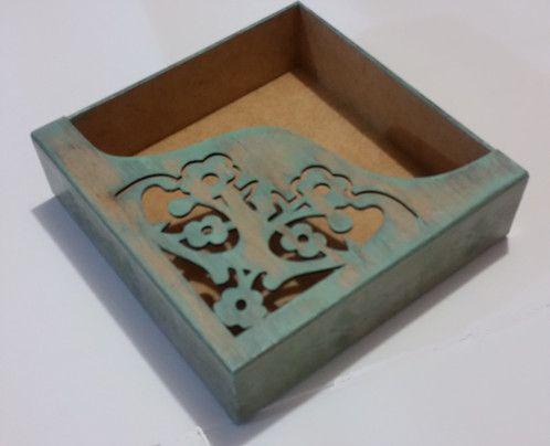 Porta guardanapos em MDF decorado com pintura e pátina