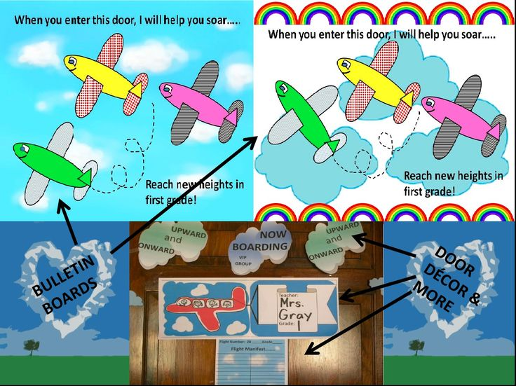 """Bulletin board(s) and room decor with an airplane theme. Many variations of this bulletin board. """"Boarding passes"""" (customized), flight manifest (classroom names), airplane pulling banner (teacher's name and grade level, room number) assortment of background skies, clouds, rainbows, personified planes(color and black & white), and suggested activities to go with it all! Just a puddle-jump away at https://www.teacherspayteachers.com/Store/Margo-Gentile"""