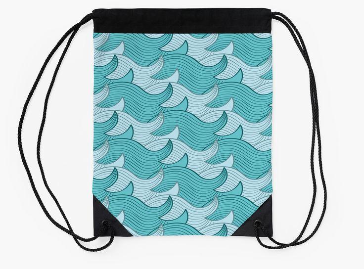California Surf Wave Pattern Illustration by Gordon White | California Surf Drawstring Bag Flat View Available @redbubble --------------------------- #redbubble #stickers #california #losangeles #la #surf #wave #cute #adorable #pattern #drawstring #bag