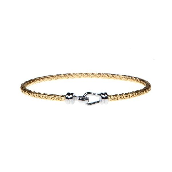 STERLING SILVER AND 18 KARAT GOLD PLATE WOVEN CARRIBEAN 3MM CUFF BY CHARLES  GARNIER | Silver