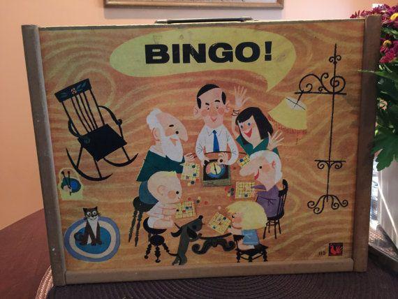 ☺✰ Vintage Bingo Game, Tucket Toy Corp, Wood Case, Spinner, 1950s midcent... http://etsy.me/2fEk3Ap