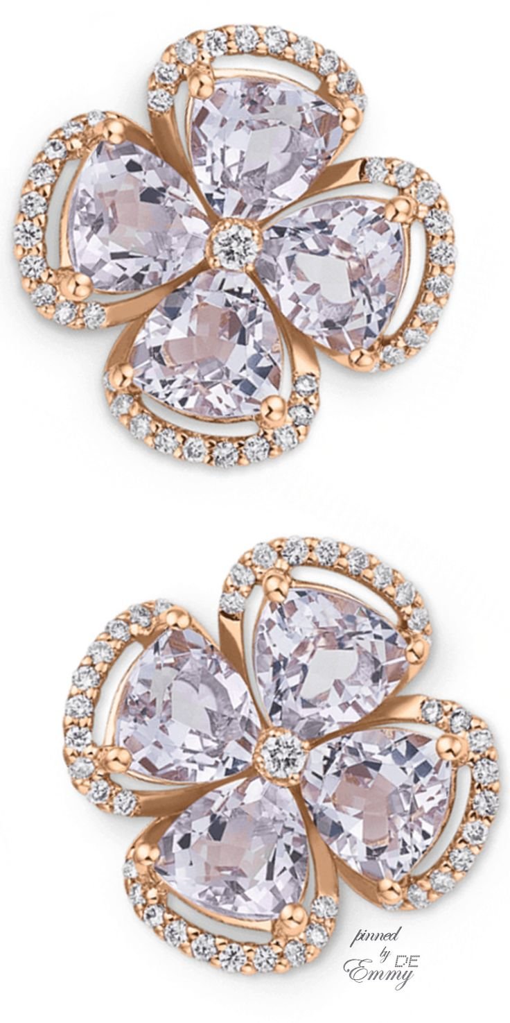 Emmy DE * Earrings by Bucherer ~ 18K rose gold, pink amethysts and brilliant diamonds