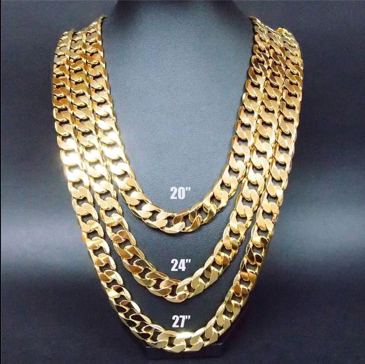Hollywood jewelry 24k gold chain in big 9mm. W/ lifetime warranty buy once and keep for ever
