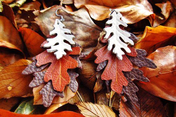 Oak Leaf Earrings Leather Leaf Earrings Hand by laurelicottage