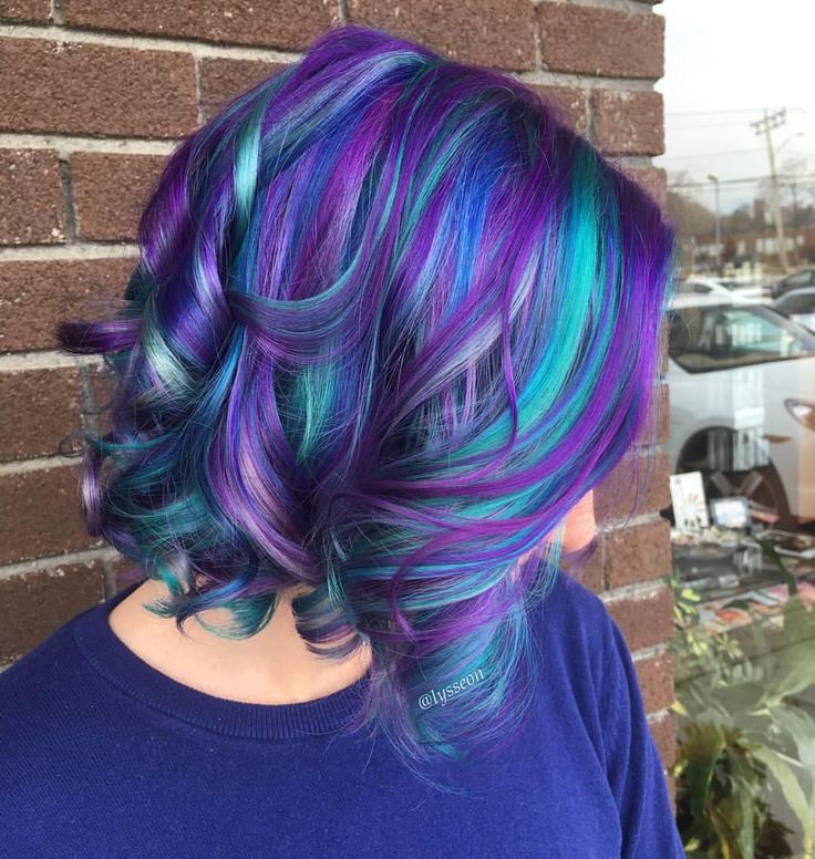 gorgeous purple and turquoise blue hair