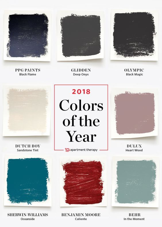 2018 Paint Colors of the Year, According to Paint Companies | Quite a few paint companies have announced their 2018 Colors of the Year, and there are a broad range of hues to choose from. Here's a roundup of what they say we'll be seeing more of in the coming months, along with advice on how to decorate with them.