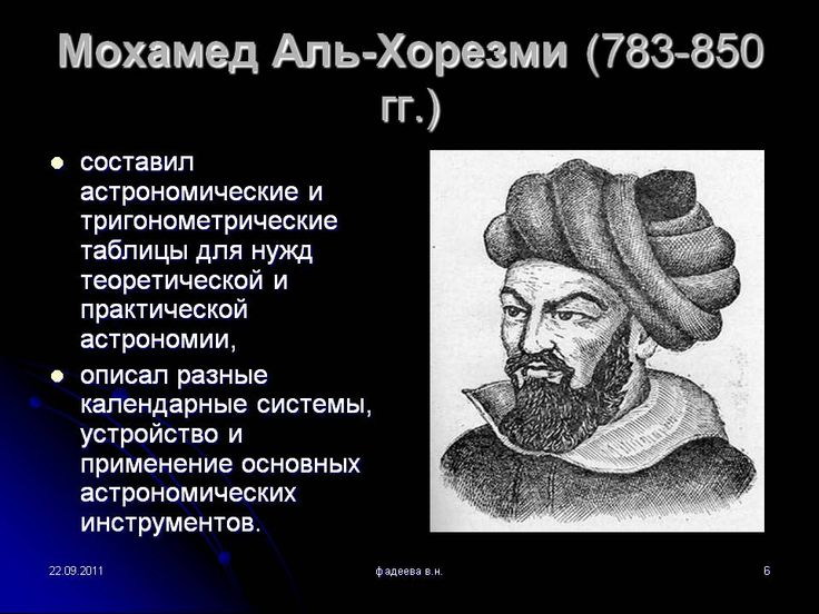 Мохамед Аль-Хорезми (783-850 гг