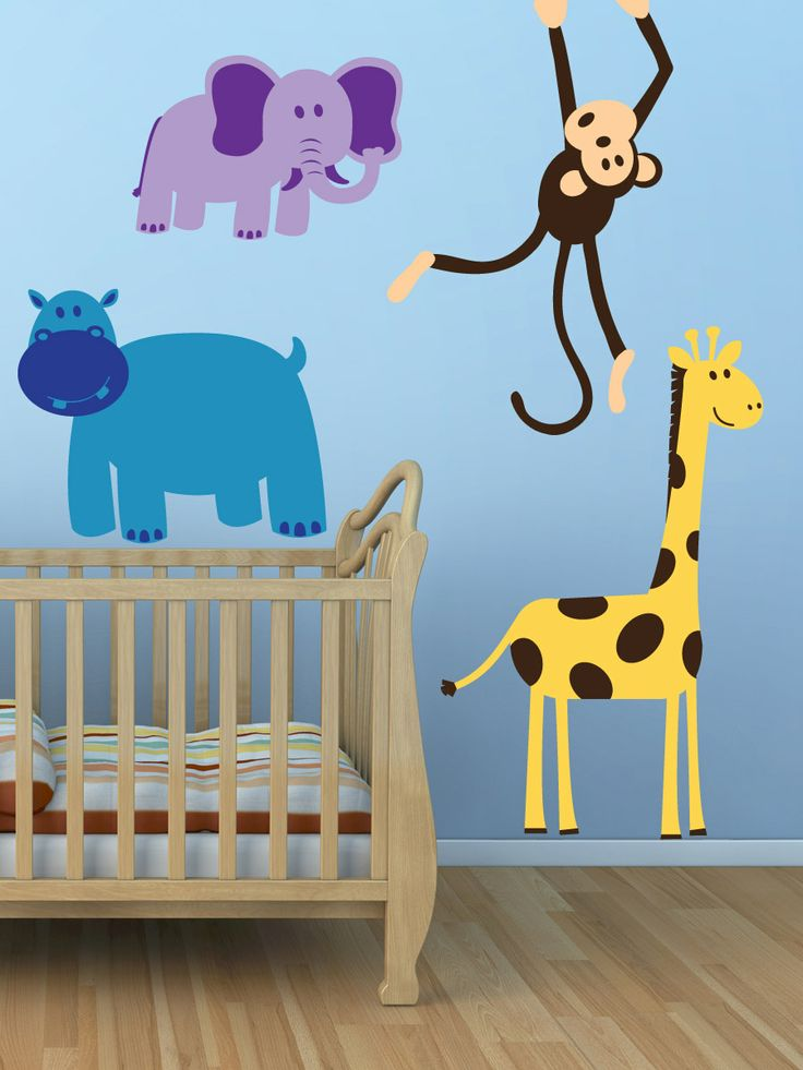 Funny pattern wall decals home new arrivals set of funny animals