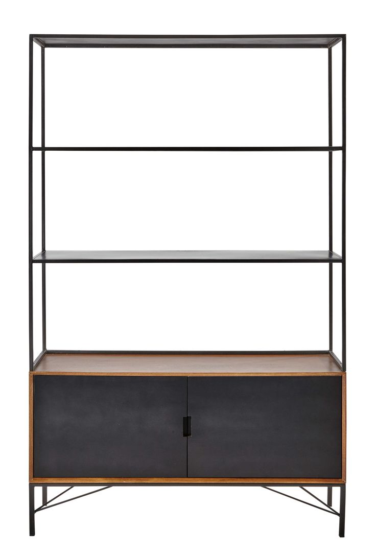 Metal bookcase in black W 120cm Arty