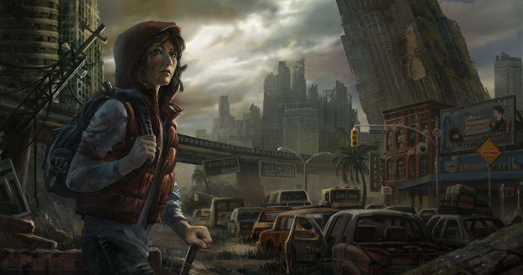 Chica joven en un mundo postapocalíptico, desalado por la guerra.