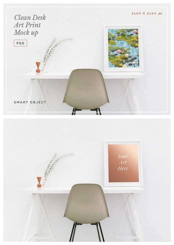 Clean Desk Art Print Mock Up PSD by Design Co. on @creativemarket