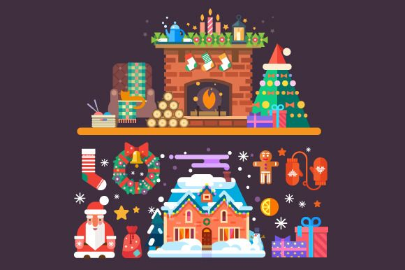 Cozy New Year and Christmas Set by TastyVector on @creativemarket