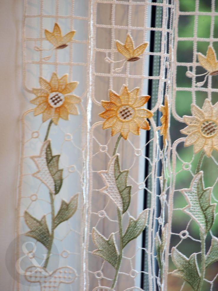 Amazon.com   CAFÉ NET CURTAINS   Kitchen Nets Macramé Ready Made Curtain  Panel Sunflower