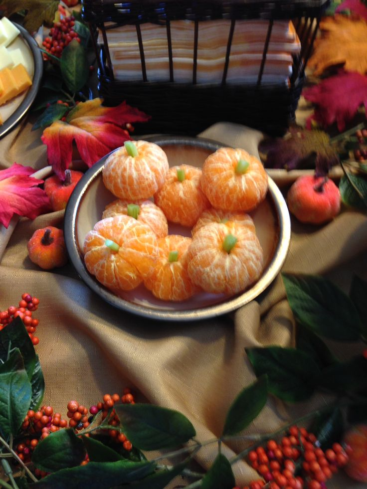 Clementine Pumpkins... Healthy Halloween potluck idea