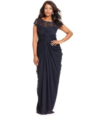 Adrianna Papell Plus Size Illusion Lace Draped Gown   macys.com