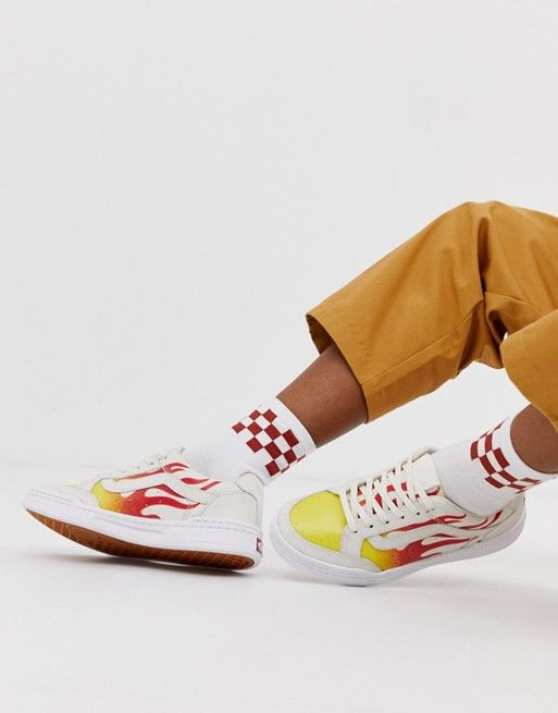 4f2344075e3 Vans Highland white flame sneakers in 2019