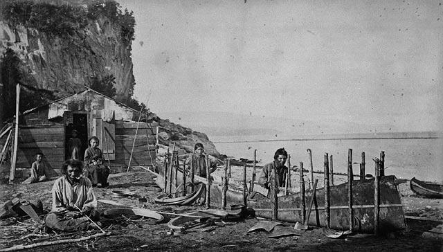 Montagnais making bark canoe   Le Bic 1863 Rimouski