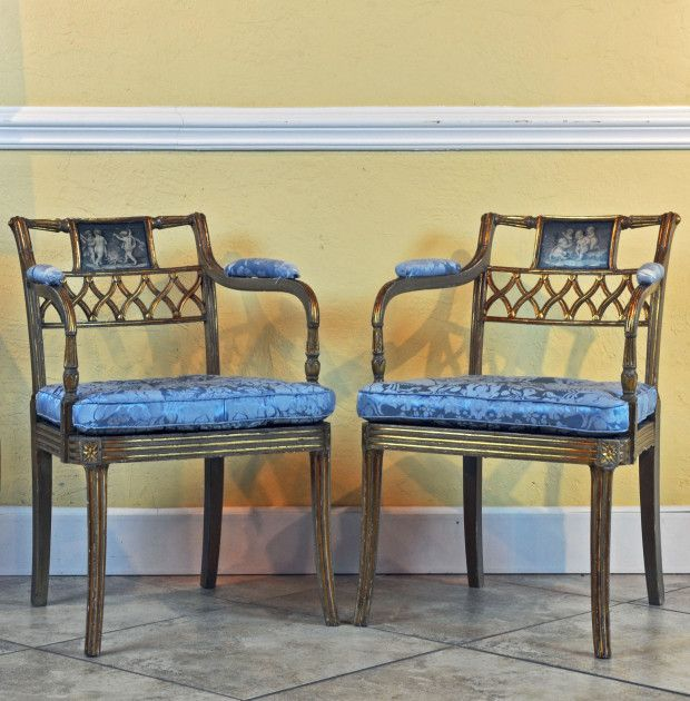 A Pair of Regency Gilt Wood and painted Armchairs in the Manner of John Gee. 124 best Antique Furniture images on Pinterest   Antique furniture