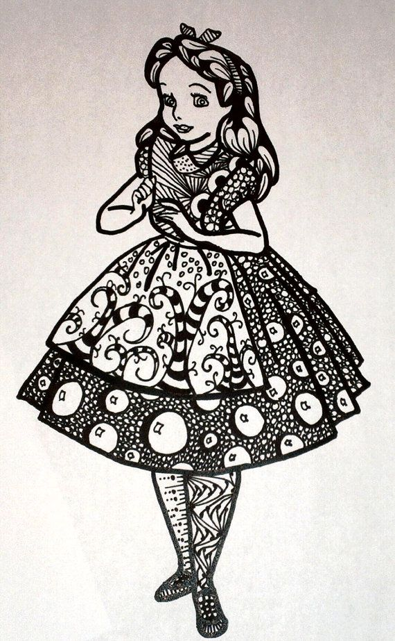 Disney Alice in Wonderland PDF Zentangle by MyCreeksideStudio