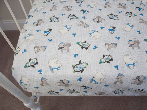 Holiday Christmas Winter Pre-Washed Flannel  Fitted Crib Cot Fitted Sheet / Changing Pad Cover - White, Blue Gray Fox Polar Bear Penguin