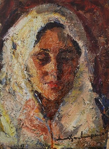 Rudolf Schweitzer Cumpăna (1886-1975) Tânară cu maramă/ Young woman with veil