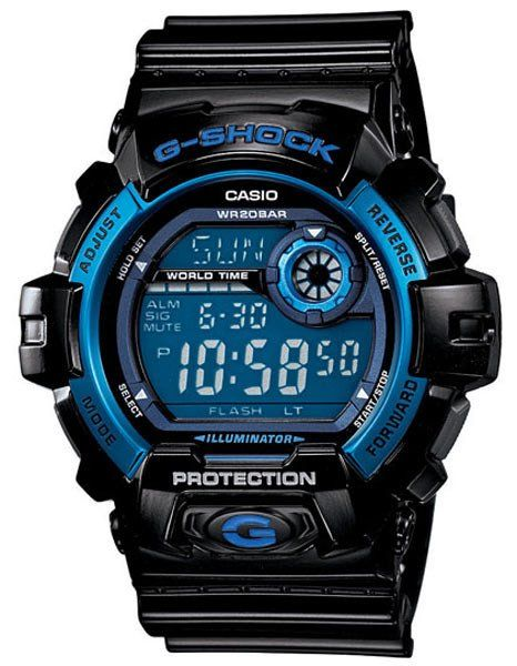 Casio introduces its new large case designs with its bold black and blue G-Shock. Its large case is highlighted by a high-intensity LED backlight, which can be