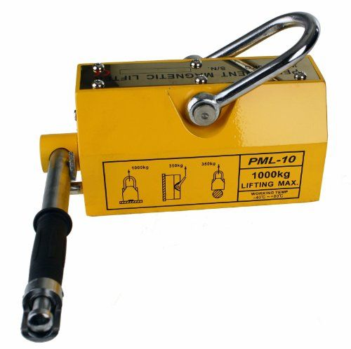 Heavy Duty 2200 lb Steel Lifting Magnet 1000 KG Magnetic Lifter Hoist or Crane. Easy to use handle controls the magnetic turning it ON or OFF to attach or detach to your Metal MaterialUsed for lifting Steel Sheet, Block, Rod and other Magnetic Material. The Magnetic Lifter is made with super strong neodymium magnets. MAX Weight: 2200 lb (1000 kg )MAX Weight for curved surface / Vertical Lift: 770 lb (350 kg).