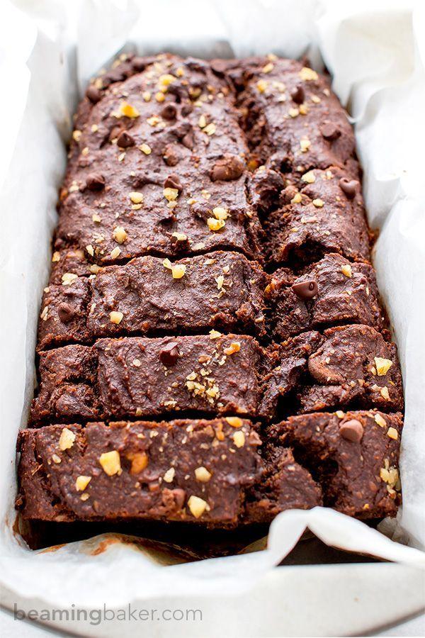 Vegan Chocolate Banana Nut Bread (V+GF): A one bowl recipe for rich, moist and chocolatey banana bread with walnuts. #Vegan #GlutenFree   http://BeamingBaker.com