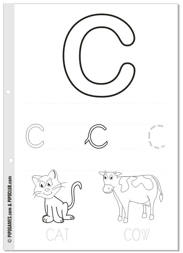Printable activities: THE ALPHABET Letter C #cat #cow #