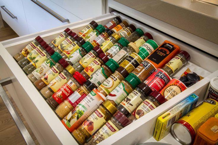 Spice drawer. www.thekitchendesigncentre.com.au