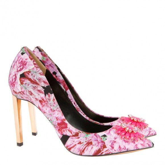 Pink Annabilla Floral Court Shoes 10cm Heel