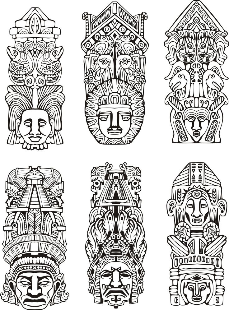 Coloriage de totem aztèque                                                                                                                                                                                 Plus