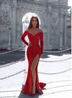 rote abendkleider mit Ärmel  abiballkleider lang glitzer modellnummer xy781  abiball kleider