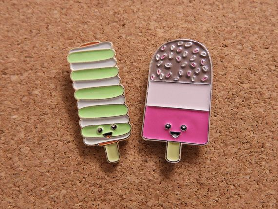 Awesome retro ice lolly pin badge! Great for adding to your #pingame collection, your favourite jacket or bag - or anywhere you can think of to put this little guy!! This listing is for ONE pin badge. Each pin badge is approx 30mm long, on a gold plated backing, filled with a soft enamel (so there is a texture to the surface - its not smooth) There is a yellow rubber clutch to the back, and the pin will arrive on its own business card sized backing card.  U.K. shipping is via Royal Mail 1st…