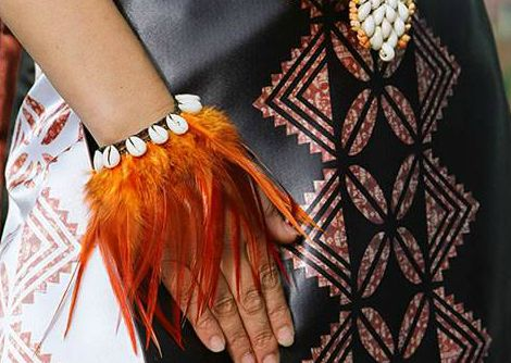 feather bracelet and dress, Tutina Pasene (Maori, Polynesian) Based in Otaki, New Zealand, Tutina Pasene is a whanau (family) based company ...