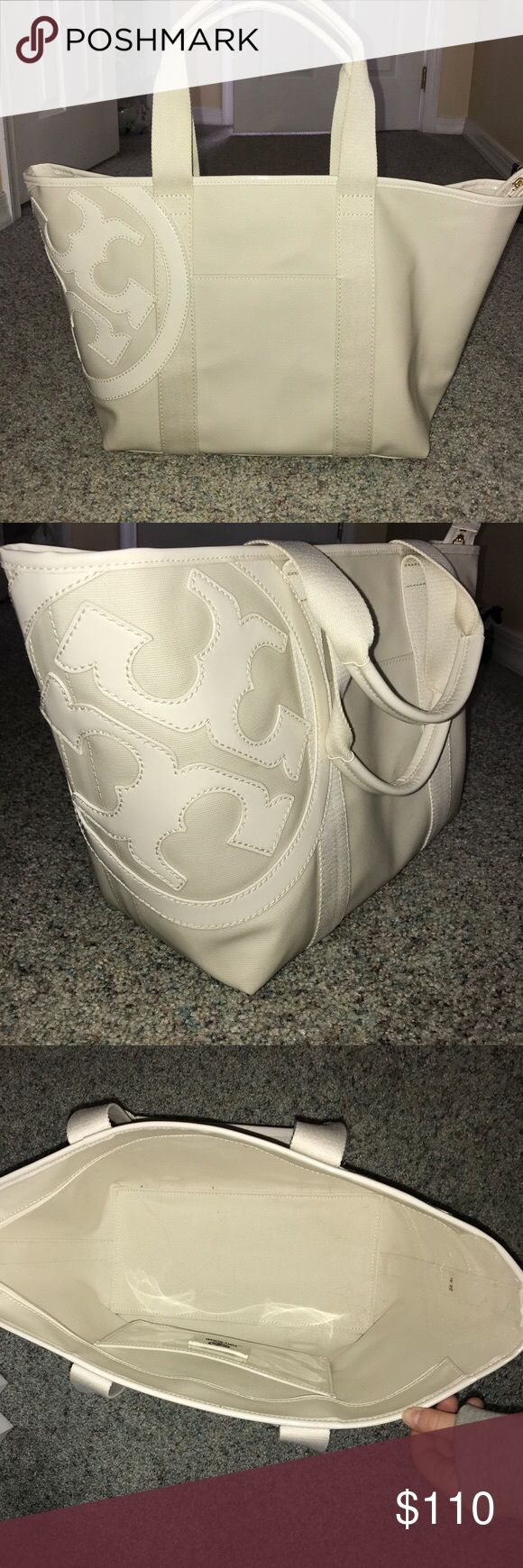 Tory Burch Large Canvas Tote Bag NWOT Large white Tory Burch Canvas Tote Bag. Never used, great condition Tory Burch Bags