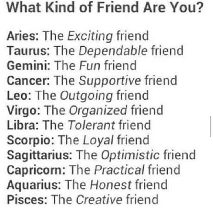 This is actually SO inaccurate for me, but the others seem right.