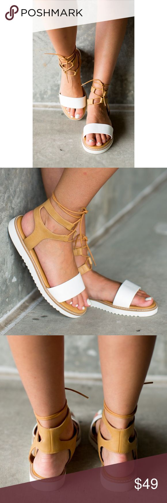"""Strappy Flat Gladiator Sandals Synthetic PU. Tan & White.  Heel measures approximately 0.75"""" Platform measures approximately 0.5 inches Sporty sandal BC Footwear Shoes Sandals"""